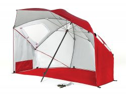 Sport-Brella Plus Portable All-Weather and Sun Umbrella with Floor, 8-Foot Canopy, Firebrick Red
