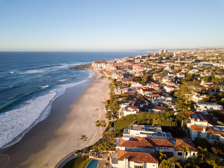 aerial view of the beachfront houses on la jolla beach